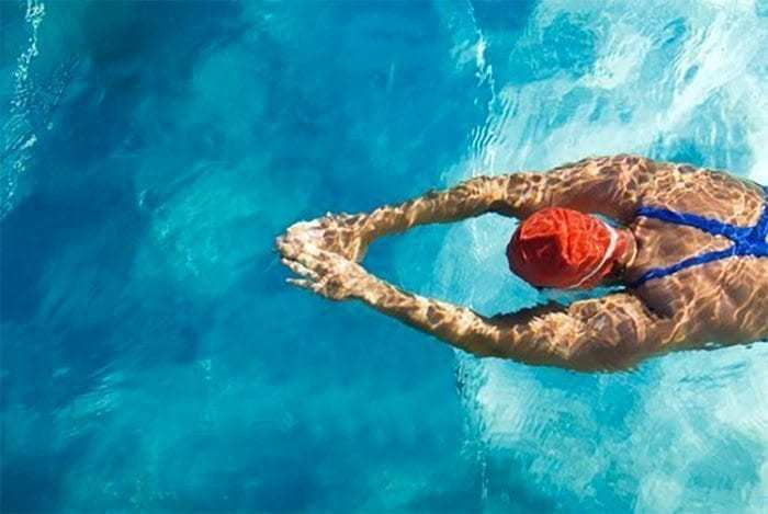 Overhead shot of swimmer in the water