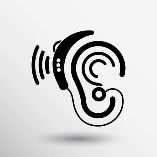 Ear vector icon of hearing aid on ear