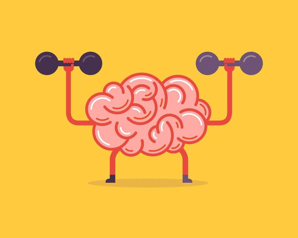 graphic illustration of a brain lifting weights