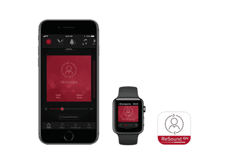 ReSound 3D App, Shown on iPhone and iWatch