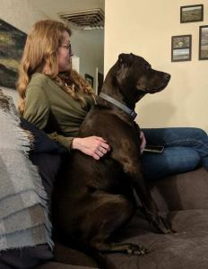 Dr. Kaela Fasman with her dog, Samson